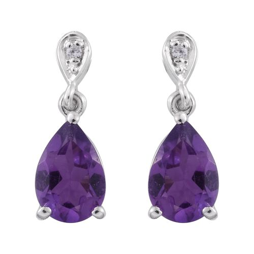 Amethyst (Pear), Natural Cambodian Zircon Earrings (with Push Back) in Platinum Overlay Sterling Silver 2.500 Ct.