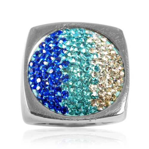 Blue and White Crystal Silver Tone Ring (Size K)