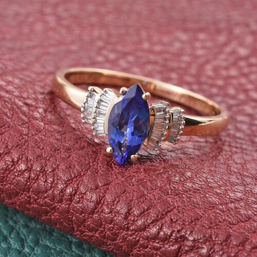 ILIANA 18K Y Gold AAA Tanzanite (Mrq 1.05 Ct), Diamond Ring 1.250 Ct.
