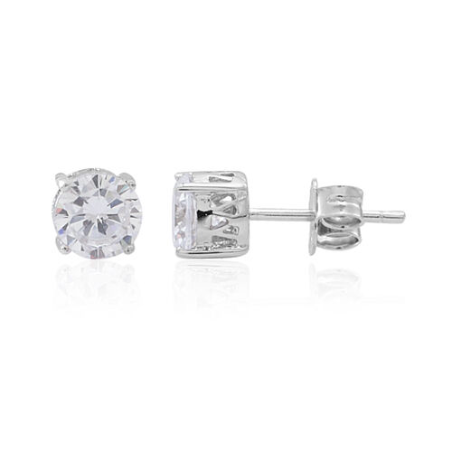 ELANZA AAA Simulated Diamond (Rnd) Pendant and Stud Earrings (with Push Back) in Rhodium Plated Sterling Silver