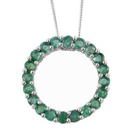 Kagem Zambian Emerald (Rnd) Circle of Life Pendant With Chain in Platinum Overlay Sterling Silver 2.000 Ct.