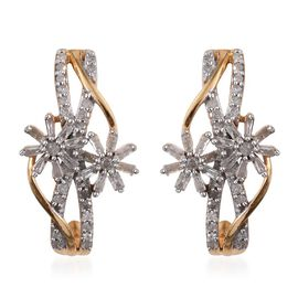 Diamond (Rnd) Floral Earrings (with Push Back) in 14K Gold Overlay Sterling Silver 0.505 Ct.