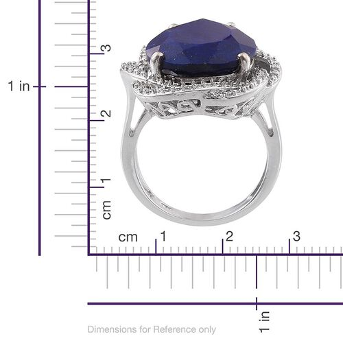 Lapis Lazuli (Pear 12.00 Ct), Diamond Ring in Platinum Overlay Sterling Silver 12.010 Ct.