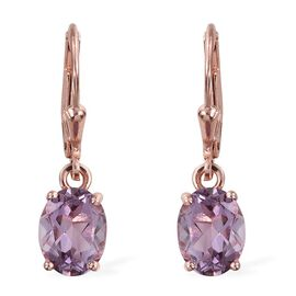Rose De France Amethyst (Ovl) Lever Back Earrings in Rose Gold Overlay Sterling Silver 3.250 Ct.
