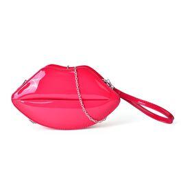 Hot Fuchsia Lip Design Crossbody Bag with Chain Strap (Size 24.5x13.5x7 Cm)