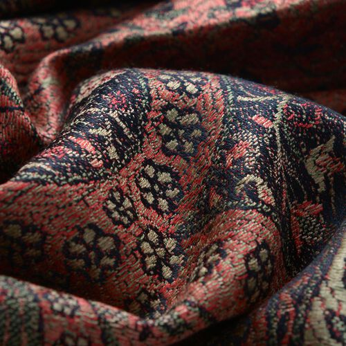 100% Superfine Silk Green and Multi Colour Paisley Pattern Red Colour Jacquard Jamawar Scarf with Fringes (Size 180x70 Cm) (Weight 125-140 Grams)