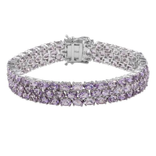 Rose De France Amethyst (Ovl) Bracelet (Size 7.5) in Platinum Overlay Sterling Silver 23.250 Ct.
