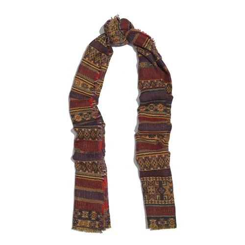 100% Merino Wool Geomatric Pattern Red, Brown and Multi Colour Jacquard Scarf with Fringes (Size 180x70 Cm)