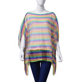 Multi Colour Poncho with Tassels (Size 100x60 Cm)