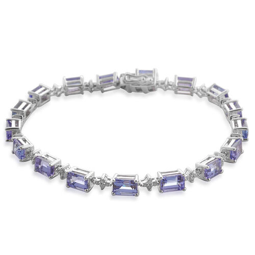 AA Tanzanite (Oct), Diamond Bracelet (Size 7.5) in Platinum Overlay Sterling Silver 10.250 Ct.