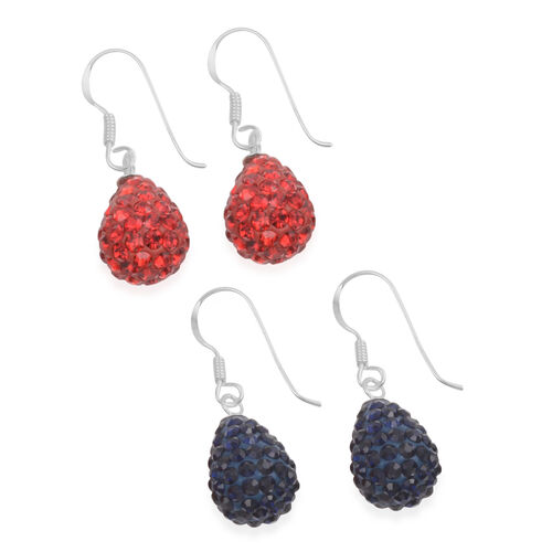 Close Out Deal Set of 2 - AAA Red Austrian Crystal (Rnd), Blue Austrian Crystal Hook Earrings in Sterling Silver