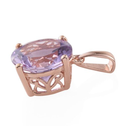Rose De France Amethyst (Rnd) Solitaire Pendant in Rose Gold Overlay Sterling Silver 6.750 Ct.
