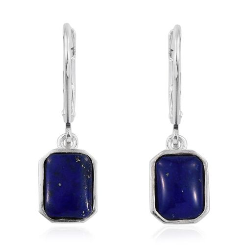 Lapis Lazuli (Oct) Lever Back Earrings in Sterling Silver 2.500 Ct.