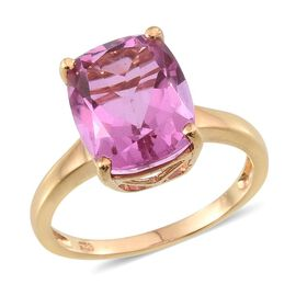 Kunzite Colour Quartz (Cush) Solitaire Ring in 14K Gold Overlay Sterling Silver 6.000 Ct.