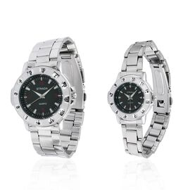 Set of 2- STRADA Japanese Movement Black Dial Water Resistant Watch in Silver Tone with Stainless Steel Back and Chain Strap