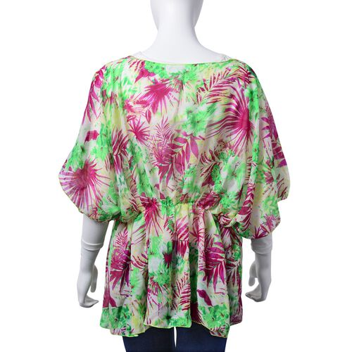 Green and Purple Colour Floral and Leaves Pattern White Colour Tunic (Free Size)