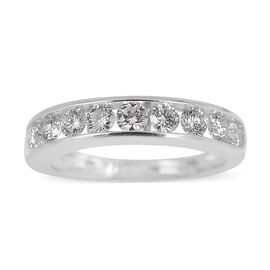 ILIANA 18K W Gold IGI Certified Diamond (Rnd) (SI/G-H) Half Eternity Band Ring 1.000 Ct.