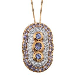 Tanzanite (Rnd), White Topaz Pendant With Chain in 14K Gold Overlay Sterling Silver 2.250 Ct.