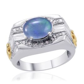 Designer Collection Boulder Opal (Ovl 2.25 Ct), Diamond Ring in 14K YG and Platinum Overlay Sterling Silver 2.350 Ct.