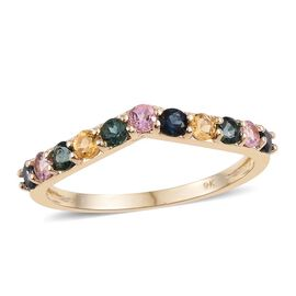 9K Yellow Gold Multi Tourmaline (Rnd) Wishbone Ring 0.750 Ct.