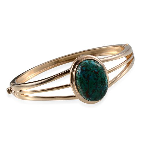 Table Mountain Shadowkite (Ovl) Bangle (Size 7.5) in 14K Gold Overlay Sterling Silver 27.000 Ct.