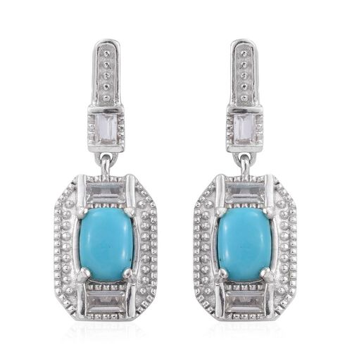 Arizona Sleeping Beauty Turquoise (Cush), White Topaz Earrings (with Push Back) in Platinum Overlay Sterling Silver 2.500 Ct.