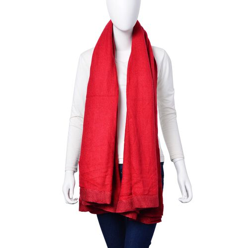 Red Colour Scarf with Sequin Border (Size 180x120 Cm)