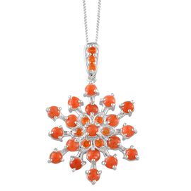 Mediterranean Coral (Rnd), Jalisco Fire Opal Pendant With Chain Platinum Overlay Sterling Silver 2.250 Ct.