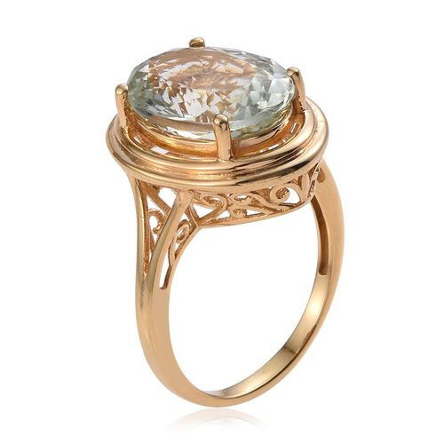 Green Amethyst (Ovl) Solitaire Ring in 14K Gold Overlay Sterling Silver 8.000 Ct.