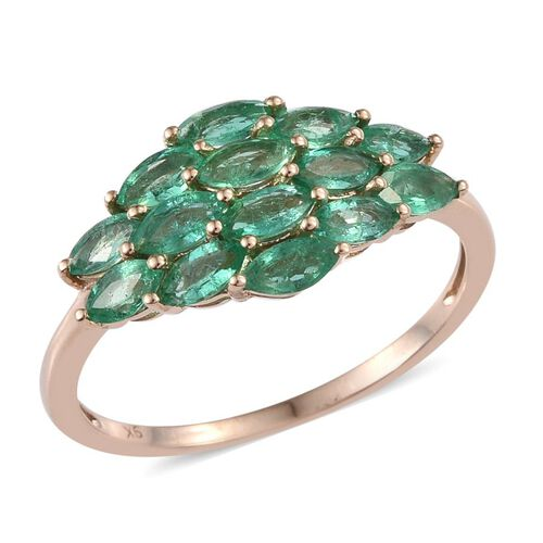9K Y Gold Boyaca Colombian Emerald (Mrq) Ring 1.850 Ct.