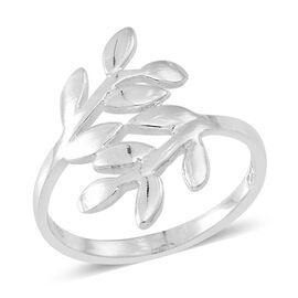 Statement Collection Sterling Silver Leaves Crossover Ring