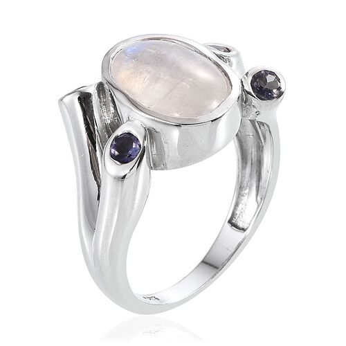 Natural Rainbow Moonstone (Ovl 5.75 Ct), Iolite Ring in Platinum Overlay Sterling Silver 6.250 Ct.