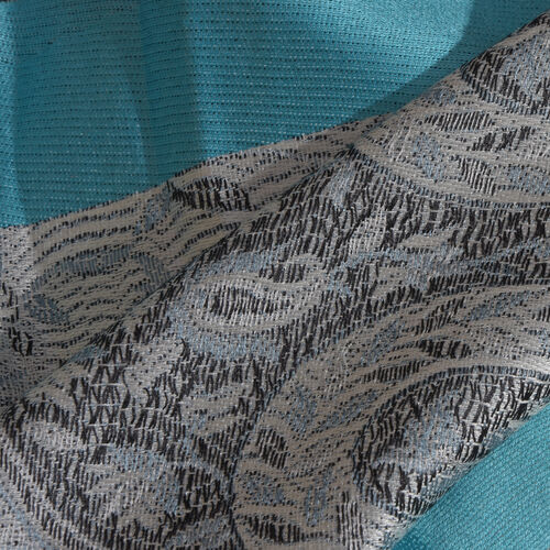 SILK MARK - 100% Superfine Grey and Black Colour Ornamental Paisley Pattern Jacquard Jamawar Blue Colour Stole with Tassels (Size 170x35 Cm)