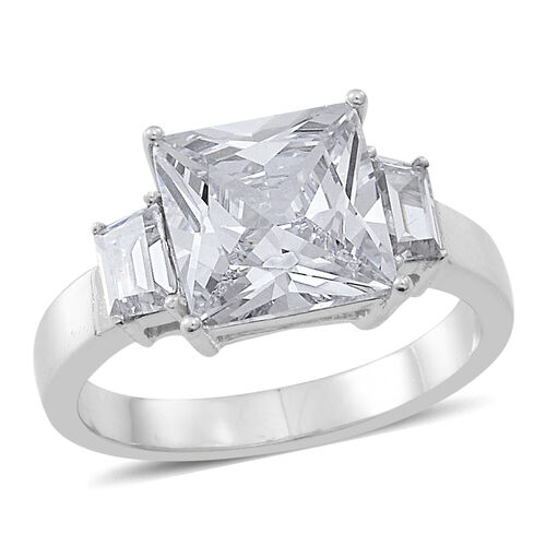 ELANZA AAA Simulated Diamond (Sqr) Ring in Rhodium Plated Sterling Silver