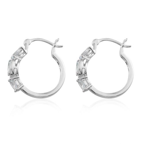 Espirito Santo Aquamarine (Ovl) Hoop Earrings in Platinum Overlay Sterling Silver 1.750 Ct.