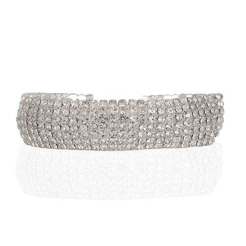 Close Out Deal Austrian Crystal (Rnd) 7 Row Bracelet (Size 7.5) in Silver Bond