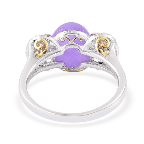 Purple Jade (Ovl 6.00 Ct), White Topaz Ring in Yellow Gold Overlay and Sterling Silver 6.050 Ct.