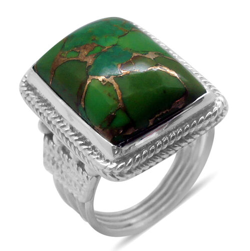 Royal Bali Collection Mojave Green Turquoise (Oct) Solitaire Ring in Sterling Silver 12.770 Ct.