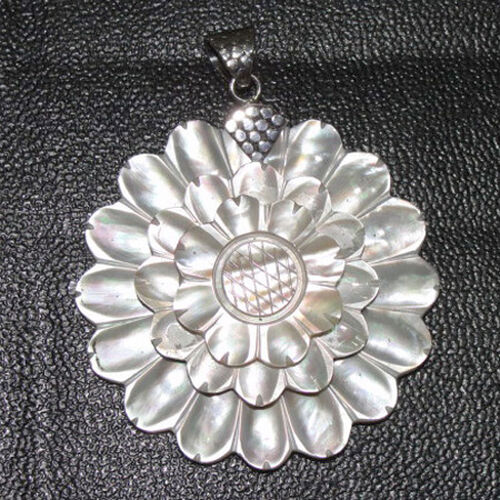 Sterling Silver Shell Statement Pendant 85.000  Ct.