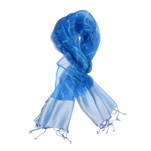 100% Mulberry Silk Blue and Light Blue Colour Scarf (Size 180x50 Cm)