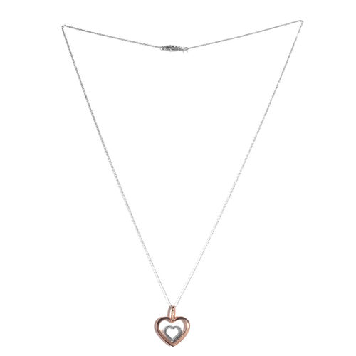 JCK Vegas Collection 9K White and Rose Gold Heart Pendant With Chain Gold weight 2.06 Gram