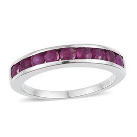 RHAPSODY 950 Platinum 1.50 Carat AAAA Burmese Ruby Round Half Eternity Ring.
