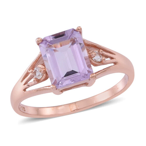 Rose De France Amethyst (Oct 2.15 Ct), White Topaz Ring in 14K Rose Gold Overlay Sterling Silver 2.250 Ct.