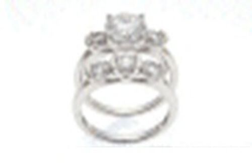 AAA Simulated Diamond (Rnd 1.00 Ct) Ring in Sterling Silver 3.200 Ct.