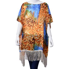 Leopard Pattern Blue and Chocolate Colour Poncho with Tassels (Free Size)