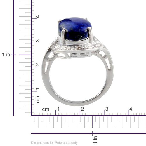 Lapis Lazuli (Ovl 4.00 Ct), Diamond Ring in Sterling Silver 4.010 Ct.