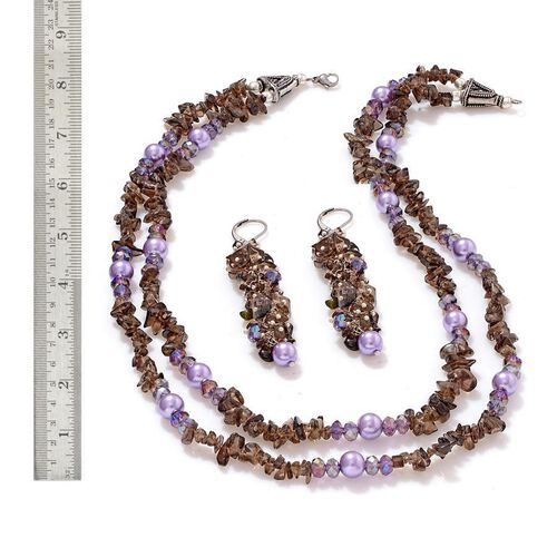 Brazilian Smoky Quartz, Glass and Glass Pearl Necklace (Size 20) and Lever Back Earrings in Silver Tone 250.000 Ct.