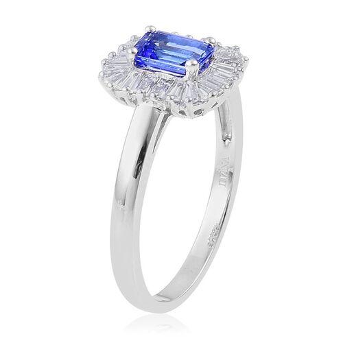 ILIANA 18K W Gold AAA Tanzanite (Oct 1.00 Ct), Diamond Ring 1.550 Ct.