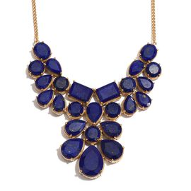 Lapis Lazuli (Pear) Necklace (Size 18) in 14K Gold Overlay Sterling Silver 124.250 Ct.