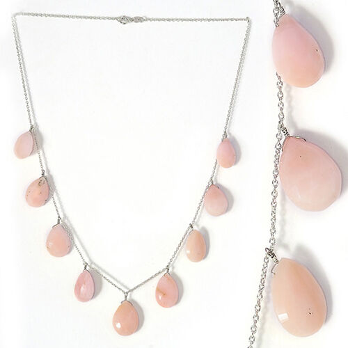 Pink Opal (Pear) Beads Necklace (Size 18) in Platinum Overlay Sterling Silver 49.350 Ct.